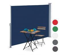 Relaxdays Tenda a Rullo Laterale, Protezione UV, Avvolgibile, Balcone, Terrazza, LxP: 180x300 cm, Blu