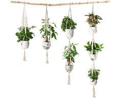 Eloka set di pezzi Macrame Plant Hanger cotone corda da appendere alla parete supporto per fioriera con portachiavi per la decorazione della casa soffitto balcone, riso bianco