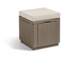 Allibert Cube w/Cushion Sgabello, Cappuccino/Sabbia (Imbottitura in Policotone)