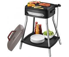 Unold 58580 - Barbecue Power Grill, Elettrico, 2000 W, Grande Piastra Antiaderente, Supporto Stabile con ripiano, Completamente Smontabile, Nero, Grigio, Acciaio Inossidabile