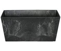 Artstone Vaso da Fiori Contenitore da Balcone Ella, Resistente al Gelo e Leggero, Nero, 37x17x17cm