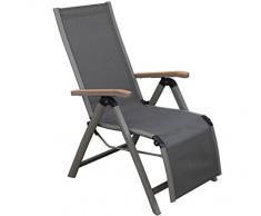 Dehner, Poltrona Relax Colmar, Pieghevole, ca. 110 x 59 x 73 cm, textilene/Alluminio/Teak FSC, Antracite