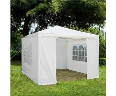 Gr8 Garden Gazebo con Lati da Esterno Impermeabile Spiaggia Party Festival Campeggio Tenda Tettoia Matrimonio Tendone Tendalino Ombra 3mx3mx2.45m - Bianco