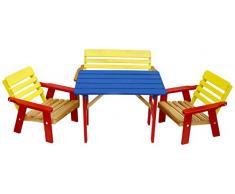 Rojaplast 243/2 Set da Giardino di Mobili in Legno Infantile, 77x51x28 cm