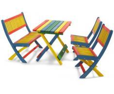 Habau - Tavolo per bambini con 4 posti a sedere, in legno, multicolore