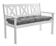 Ambientehome - EVJE, Panca da Giardino da 2 posti, in Legno massello, incl. Cuscini, Colore: Bianco