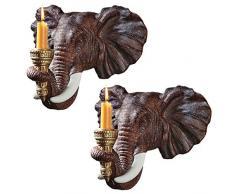 Design Toscano NG930614 Candeliere da Parete Elefante, Set da Due