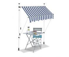 Relaxdays Tenda da Sole, Protezione per Il Balcone, Regolabile, Senza Forare, a Manovella, Larga 150 cm, a Righe Blu, Bianco, 150 x 120 cm
