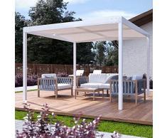 QEEQ.IT Beatrice Gazebo 4x3-struttura Bianca-Telo Beige Pergola in Alluminio