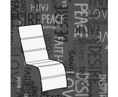 Kettler 0309016-8575 - Cuscino per Poltrona da Giardino, Motivo Scritte, 170 x 48 x 3 cm, Colore: Grigio Chiaro