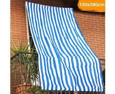BAKAJI Tenda da Sole Telo Parasole a Righe in HDPE Resistente Protezione UV 90% per Balcone e Veranda Dimensione 150 x 290 cm con Anelli di Aggancio (Blu)
