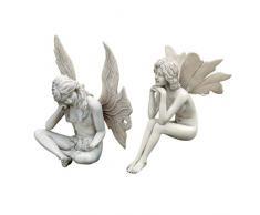 Design Toscano Statue Le fate del giardino segreto (il set include: fata che fissa e fata che medita)
