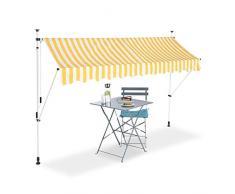 Relaxdays Tenda da Sole, Protezione per Il Balcone, Regolabile, Senza Forare, a Manovella, Larga 300 cm, a Righe Gialle