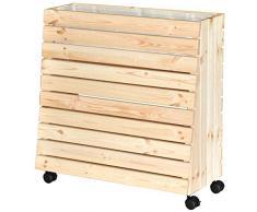 WAGNER - Aiuola rialzata mobile GreenBOX (legno massiccio, ruote con borsa per piante), in legno naturale