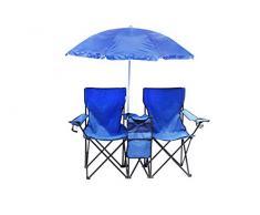 Homecall Sedia doppia pieghevole da campeggio con tasca termica e ombrellone colore blu