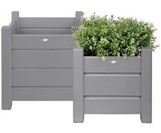 Esschert Design, Set di 2 fioriere-portavaso quadrate, da giardino, colore: Grigio