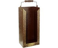 Kamino-Flam 333065 Secchio Contenitore per Carbone in Ottone Anticato, Oro Antico, 20 x 15 x 40 cm