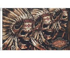 Teschio indiano , 5 X 3, motivo: bandiera dei pirati, 5 X 7,5 cm, motivo: Halloween, decorazione per feste, motivo: pirata