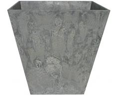 Artstone Vaso da Fiori, per Piante Ella, Resistente al Gelo e Leggero, Grigio, 15x15cm