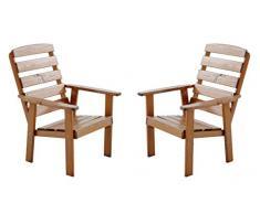 Ambiente Casa 90.320 Poltrona da giardino Sedia Lounge Set di 2 in massello Hanko Maxi, marrone