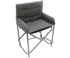 Homecall Sedia pieghevole in alluminio con schienale colore grigio