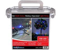 WeRChristmas esterni Luci di Natale 100 LED con timer a batteria 10m Multi