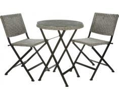 Gartenfreude - Set da giardino composto da 1 tavolo tondo con lastra superiore di vetro e 2 sedie, in rattan, Ø 60 cm, colore grigio