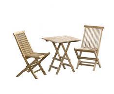 CHICREAT - Set da giardino in legno di teak, 3 pezzi, tavolo pieghevole di forma rettangolare di circa 40 x 60 cm e sedie pieghevoli