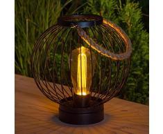 Noma Black Metal Rotondo in Stile Lanterna con filamento LED Lampadina, 25 cm, Taglia Unica