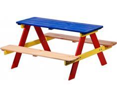 Dobar Bambini Divano per i Quattro Figli, Come Un Tavolo e sedie con Panca Picnic o Casinò, Legno FSC, 90 x 85 x 45 cm, colorato