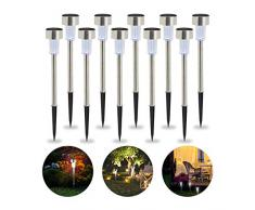 Relaxdays Set da 10 Lampade Solari a LED, Impermeabili, per Giardino, Balcone, in Acciaio Inox, Luce Bianca Argento
