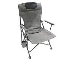 Homecall Sedia pieghevole da campeggio con schienale alto e imbottitura colore grigio