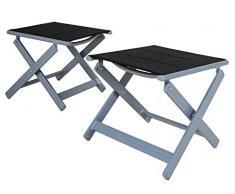 Chicreat, set di sgabelli imbottiti, set da 2, colore nero/argento, alluminio