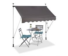 Relaxdays 10023701_831 Tenda da Sole per Balcone a Manovella Regolabile Resistente agli UV Poliestere Larghezza 200 cm Grigio