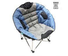 Homecall Poltrona pieghevole da campeggio taglia XXL colore grigio/blu