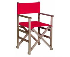 Aranaz – Poltrona regista pieghevole senza vernice tela, colore: rosso