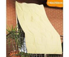 BAKAJI Tenda da Sole Telo Parasole in HDPE Resistente Protezione UV 90% per Balcone e Veranda con Anelli di Aggancio Beige (140 x 250 cm)