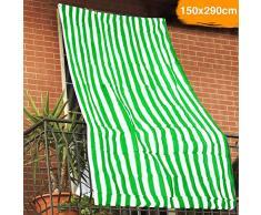 BAKAJI Tenda da Sole Telo Parasole a Righe in HDPE Resistente Protezione UV 90% per Balcone e Veranda Dimensione 150 x 290 cm con Anelli di Aggancio (Verde)