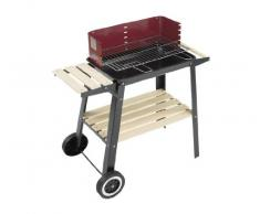 Landmann 0566 Schwarz Holzkohle-Grillwagen Barbecue Carrello Antracite Nero, Bordeaux