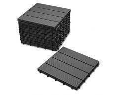 SAM® Mattonelle in WPC ad incastro per terrazzo, set di 11 pezzi di ca.1 m², colore grigio antracite, con 4 listelli, pavimentazione per balcone con struttura di drenaggio sottostante