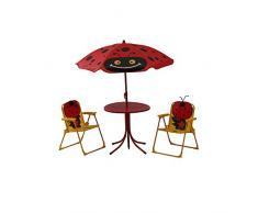 Siena Garden 672618 Set da tavola per bambini Marie 2 X SEDIA PIEGHEVOLE, 1 X tavolo, 1 X Protezione per struttura in acciaio giallo/rosso con coccinella Motiv, UPF 50 +