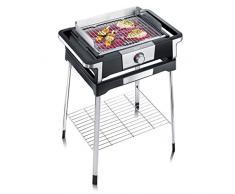 Severin PG 8116 Barbecue Elettrico Style, Temperatura Fino a 320°C in 10 Minuti, Safe Touch, Manopola con Luce LED, Cavo XXL 2 m, Base di Supporto, Griglia in Acciaio Inossidabile, Nero