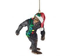 Design Toscano Bigfoot lo Yeti delle feste con il cappello di Babbo Natale Spiritosa decorazione per albero di Natale, poliresina, a colori, 7,5 cm