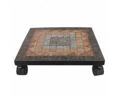 Siena Garden, carrello portavasi, Prato ec, in metallo, mosaico, nero