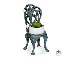 Relaxdays Mini Supporto per Fiori in Ghisa, Sedia Porta Vasi Vintage, Decorativo, per Giardino e Balcone, Verde Scuro, 1
