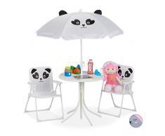Relaxdays, Bianco Tavolo Bambini con Ombrellone, Set con 2 Sedie, da Campeggio & Giardino, Tavolino Picnic, Giochi, Casa