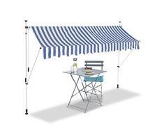 Relaxdays Tenda da Sole, Protezione per Il Balcone, Regolabile, Senza Forare, a Manovella, Larga 300 cm, a Righe, Blu/Bianco, 300 x 120 cm
