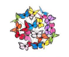 Relaxdays Farfalle Deco da Giardino, Set da 36 Farfalline, Decorazione, Outdoor & Indoor, Asta in Metallo, Colorate