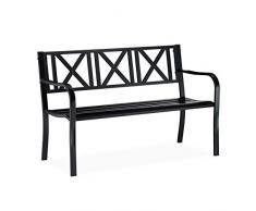 Relaxdays Panca da Giardino in Metallo, 2 Posti, Resistente, Panchina da Balcone HxLxP 81 x 127 x 56 cm, Nero