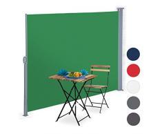 Relaxdays Tenda a Rullo Laterale, Protezione UV, Avvolgibile, Balcone, Terrazza, LxP: 180x300 cm, Verde